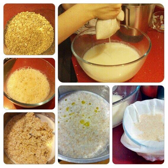 elaboración de la leche de avena