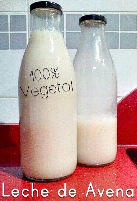 dos botellas de cristal con leche de avena casera