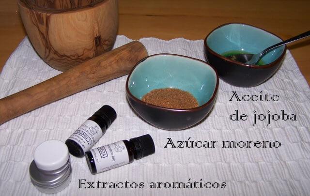 diferentes ingredientes para elaborar el exfoliante labial