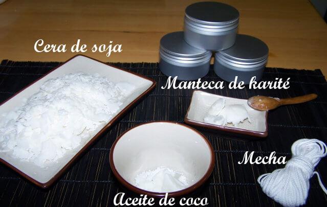 diferentes ingredientes de la vela de masaje