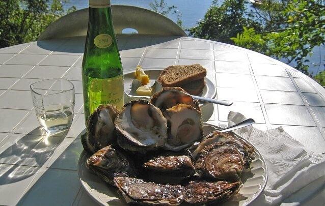 plato de ostras, vino blanco y pan