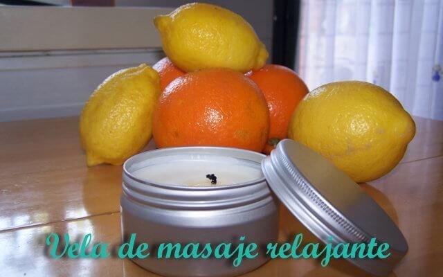 vela de masaje, limones y naranjas