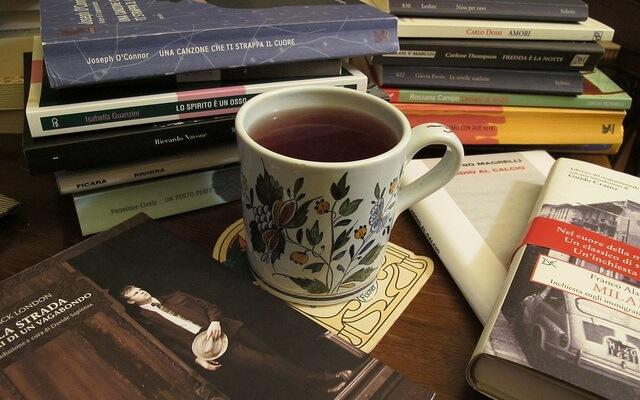 taza con una infusion entre muchos libros