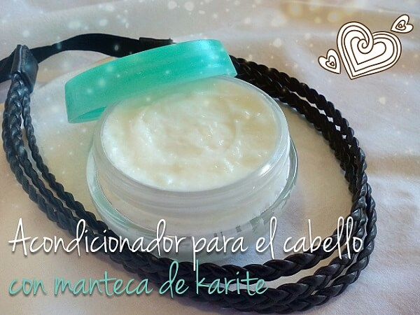 Acondicionador casero para el cabello con manteca de karité y aceite de coco.