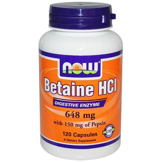 Betaina HCL de la marca Now