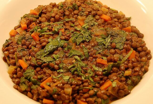 Salteado de verduras con lentejas